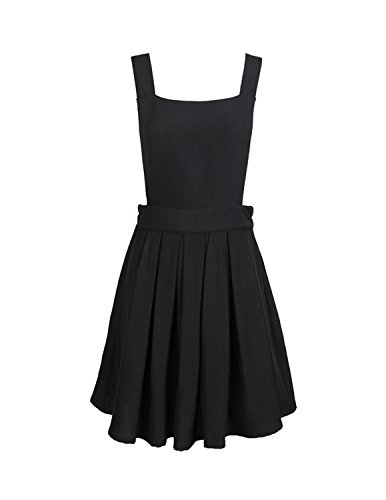 haoduoyi Womens Casual XCross Suspender Skirt Overall Mini Dress,Small,Black (Dress Pinafore)