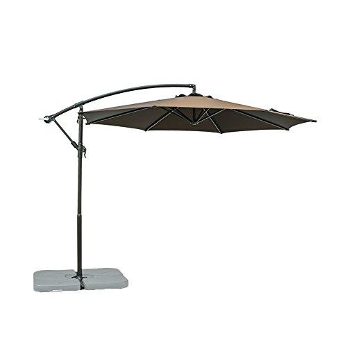 Foot Shade Patio Umbrella (FLAME&SHADE 10 Feet Offset Cantilever Umbrella Outdoor Hanging Patio Umbrella, Coffee Brown)