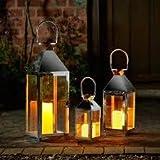 Smart Solar Stockholm Stainless Steel Lantern - Set of 3