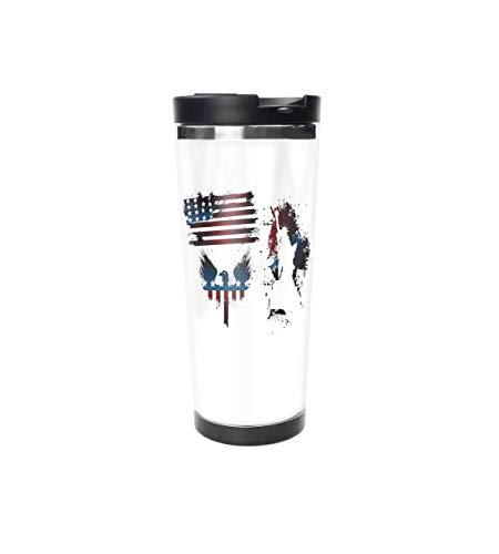 Bald Eagle Steel Mug - Set with Bald Eagle Symbol and Stripes Stars Statue of Liberty Grunge Retro Theme Navy Maroon Stainless Steel Insulated Travel Mug for Coffee & Tea WithLid,Coffee Mug,Travel Tumbler 16oz