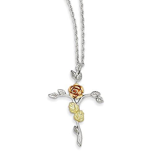 925 Sterling Silver 12k Rose Cross Religious Chain Necklace Pendant Charm Crucifix Fine Jewelry Gifts For Women For Her