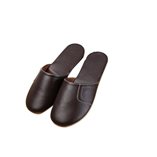 TELLW Autumn Winter Warm Leather slippers soft bottom home pack scalp Slippers couples leather slippers for women and men Dark Brown x8Q46CZS9c