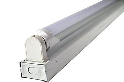 White 4-foot 1-light Flush-mount Ceiling Light Fixture with 1 LED T8 24 Watt Tube 30% Brighter than 18w LEDs