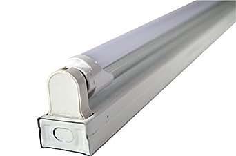 White 2 Foot 1 Light Flush Mount Ceiling Light Fixture With 1 Led T8 10 Watt Tube