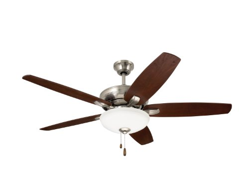 Emerson Ceiling Fans CF717BS Ashland, 52-Inch Low Profile Hugger Ceiling Fan With Light, Brushed Steel Finish