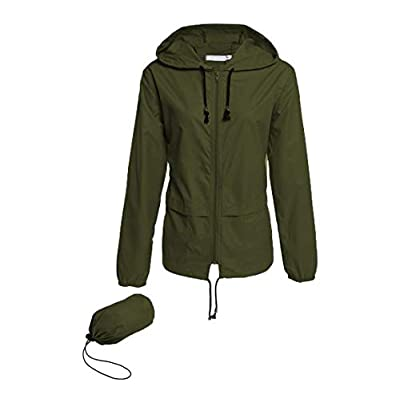 Hount Women's Lightweight Hooded Raincoat Waterproof Packable Active Outdoor Rain Jacket: Clothing