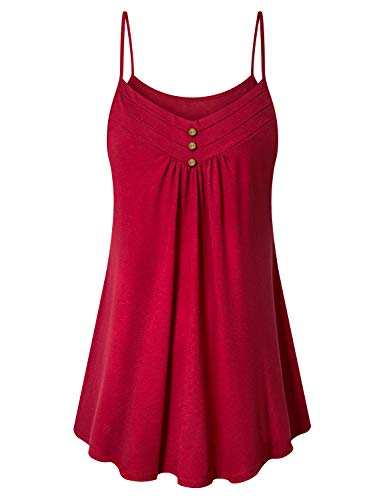 Viracy Boho Tops for Women, Women's Summer Button V Neck Pleated Spaghetti Strap Dressy Camisole Tank Tops (X-Large, Red)