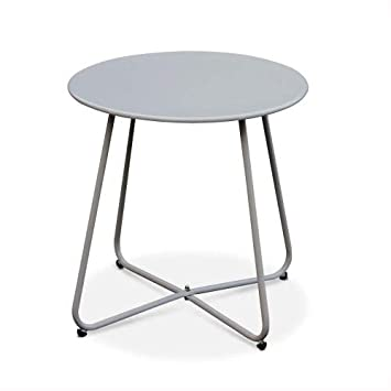 d'appoint thermolaqué Taupe Cecilia Garden Alice's – Ronde Table Basse Ronde Gris Table Ø45cmAcier – hQrCtsdx