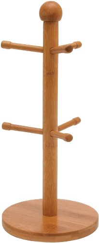 Lipper International 8899 Bamboo Wood 6-Peg Mug Tree for Coffee or Tea Cups, 6-1/4