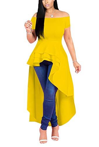 (Fashion High Low Tops for Women - Unique Ruffle Off Shoulder Tunic Shirt X-Large Yellow)