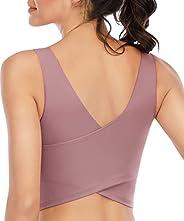 YOGERSSY Longline Sports Bras for Women Padded Womens Yoga Sport Bra Workout Crop Tank Tops Built in Bra