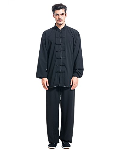 ICNBUYS Men's Kung Fu Tai Chi Uniform Cotton Silk XXXL Black