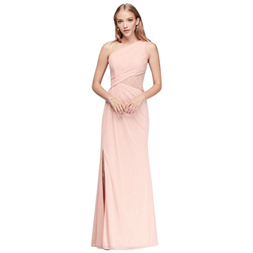 David's Bridal Mesh One-Shoulder Bridesmaid Dress with Metallic Lace Inset Style F19419M.