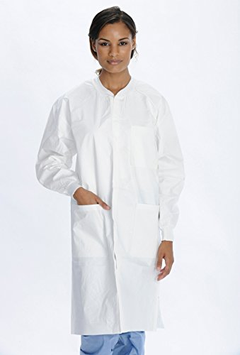 (ValuMax 3660WHL Extra-Safe Knee Length SMS Lab Coats, Capacity, Volume, SMS, Large, White (Pack of 10))