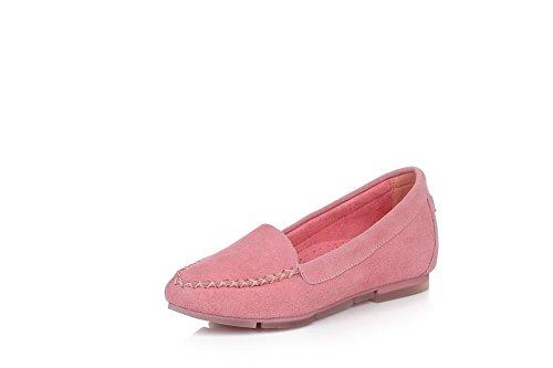 Amoonyfashion Femmes Point-toe Fermé-orteil Bas-talons Pompes-chaussures Avec Des Chaussures Solides Et Doug Rose
