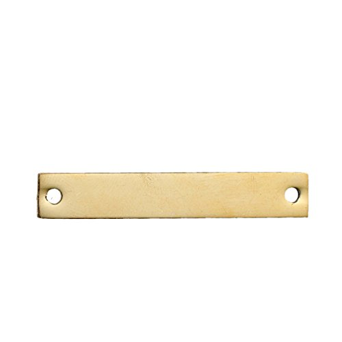 10 Count Gold Plated Rectangle Bar Metal Stamping Blank Tag with Two Holes 38mm x 6mm (Art Rectangle Charm Gold Plated)