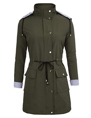 Da Style Giacca Con Unbrand Impermeabili Active Antipioggia Trench Cappuccio Green army Long Donna Outdoor qUzgnT
