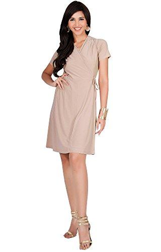 Dress Knee V Length Neck Womens Cute KOH KOH Midi Wrap Casual Light Short Brown Sleeve Work Oq1vf