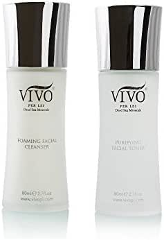 Vivo Per Lei Cleanser Toner Set - Foaming Face Cleanser & Dead Sea Toner Kit - Facial Cleanser Set for a Complete Cleansing Experience - Gentle Cleanser & Toner for All Skin Types