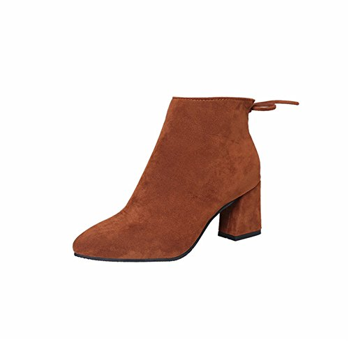 Damen Blockabsatz Stiefe - Veloursleder-Optik Zipper Ankle Boots Winter Warm Mode Einfarbig Stiefel Schuhe Hellbraun