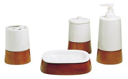 Accessori Bagno In Legno : Set pz accessori bagno porcellana bianca e base in legno amazon