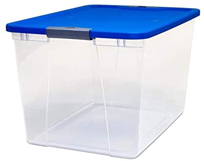 HOMZ Snaplock Clear Storage Bin with Lid, X Large Latching-64 Quart (Set of two), Blue, 2 Pack