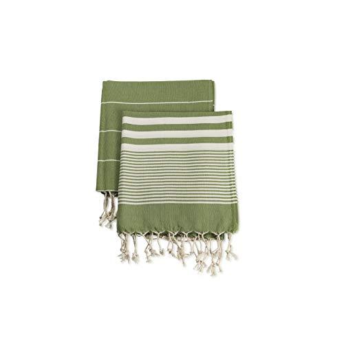 Ahenque Set of 2, Eco-Friendly Turkish Tea Towel, Dishclothes, Peshkir, Dish Towel, Kitchen Towel, Hand Towel, Size: 18″ x 40″ (Grassgreen)