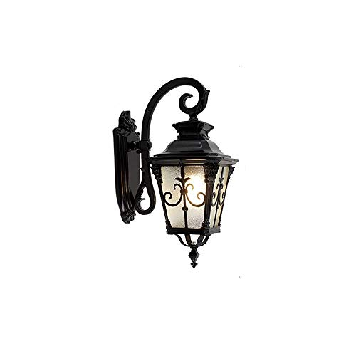 DFEIL European Traditional Firenze Wall Lamp E27 Aluminium European Flush Outdoor Wall Light American Retro Garden Villa Garage IP54 Waterproof Glass Lantern (Color : Black, Size : M-5634CM)