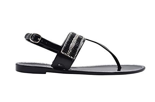 (Gold Toe Ladies Flip Flops Size 7-8 M US Jelly Metallic T-Strap Sandal Embellished with Rhinestone Strap Slip On Shoe Black )