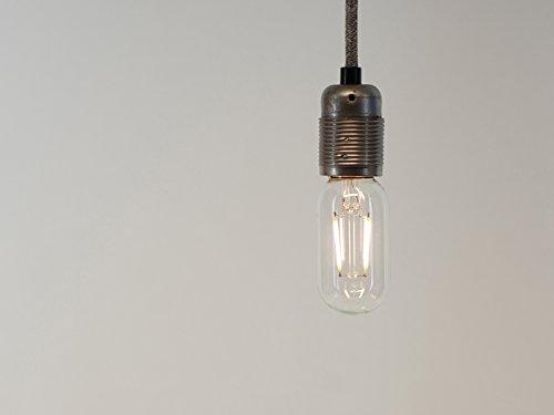 T45 luz blanca cálida LED filamento Vintage Edison Bombilla | E27 ES tornillo | 2 W regulable: Amazon.es: Iluminación