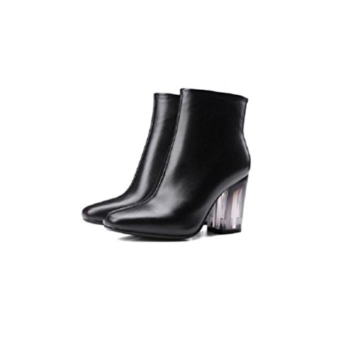 wdjjjnnnv Transparent With crude Genuine Leather Ankle boots Leisure high-heeled woman Short boots 35 YjYFau2m