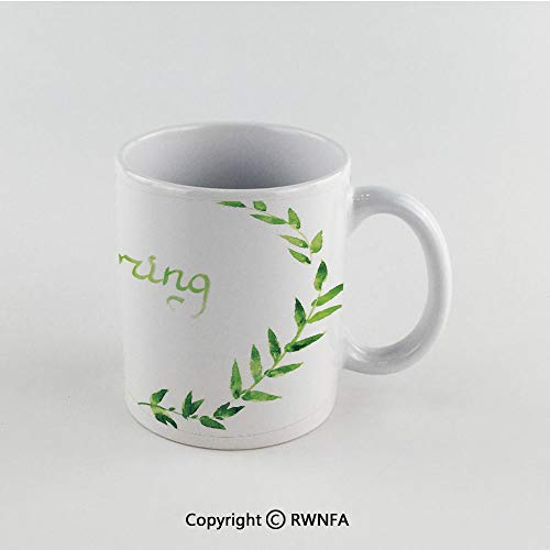11oz Unique Present Mother Day Personalized Gifts Coffee Mug Tea Cup White Watercolor,Wreath of Leaves Natural Imagery Ecological Design Spring is Coming Artwork Decorative,Apple Green Funny Ceramic