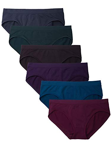 Kalon 6 Pack Women's Hipster Brief Nylon Spandex Underwear (X-Small, Dark Vintage)