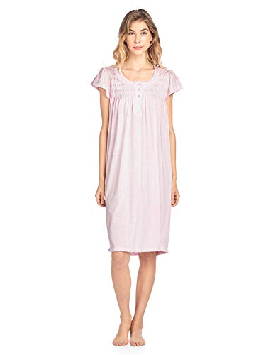Casual Nights Women's Short Sleeve Smocked and Lace Nightgown - Pink - 4X-Large ()