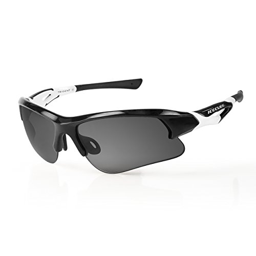 - Icecube Unisex Asian Fit Photochromic Polarized Sports Sunglasses | UV Protection | TR90 Ultra Light | Suitable for Running, Driving, Beach, Fishing - TRIDENT (BLK/WHT, Grey Polarized)