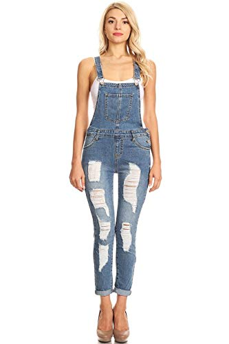(Instar Mode Women's Casual Distressed Ripped Denim Skinny Jean Cropped Overalls Medium Denim M)