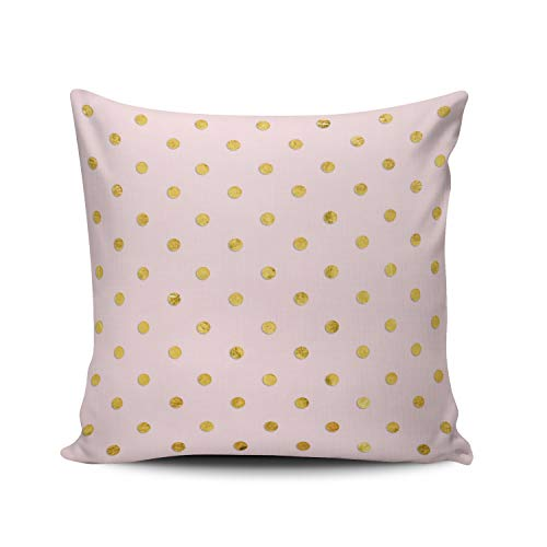 ANLIPU Personalized Decorative Pillowcases Stylish Chic Girly Blush Pink and Gold Polka Dots Throw Pillow Covers Cases Square Size 20x20 Inches Print on Two Sides