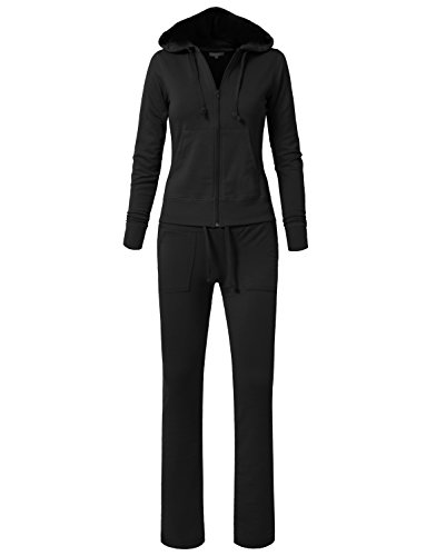 Black Womens Tracksuit - NE PEOPLE Womens Hoodie and Sweatpants Tracksuit Set, Newts01-black, Large