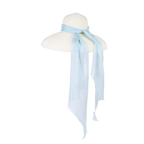 Utopiat Lucid Aqua Miu Premium Oversized Holiday Straw Hat with Silk Chiffon Scarf by Utopiat