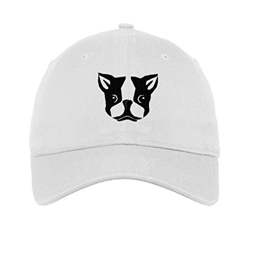 Speedy Pros LowProfileSoft Hat Boston Terrier Silly Face Embroidery Design Cotton Dad Hat Flat Solid Buckle White Design Only