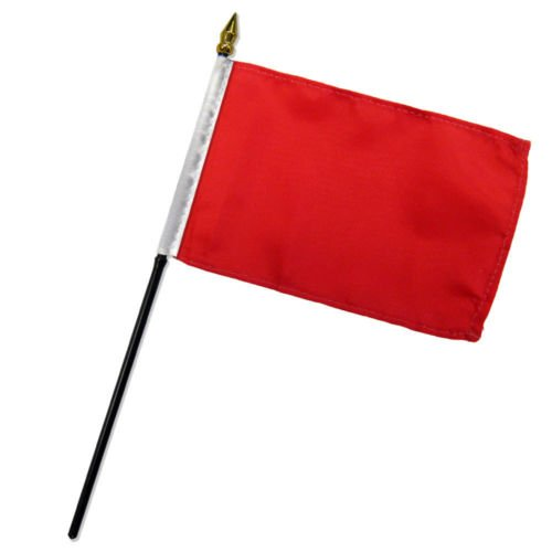 Solid Red Plain Flag 4''x6'' Desk Set Table Stick Gold Base BEST Garden Outdor Decor polyester material FLAG PREMIUM Vivid Color and UV Fade Resistant by Moon