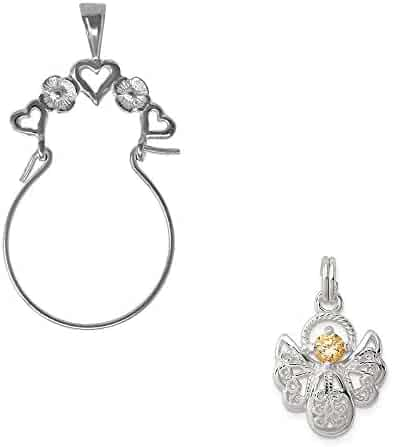Mireval Sterling Silver Anti-Tarnish Treated Enameled Latin Cross Charm on an Optional Charm Holder