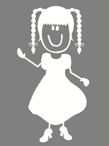 Wall Décor Plus More WDPM1510 Girl With Braids Stick Person Number-6 Wall Vinyl Decal, 5-Inch H, White