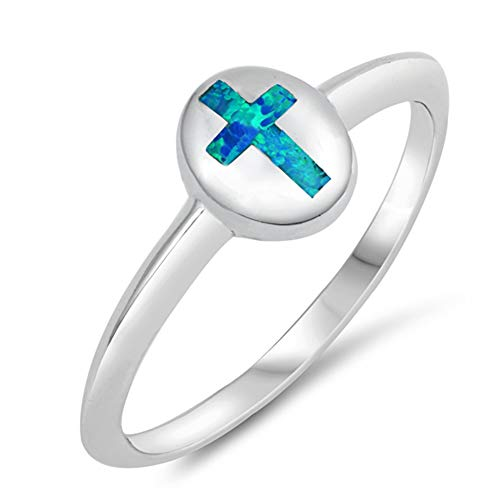 Blue Simulated Opal Oval Inset Cross Cute Ring New 925 Sterling Silver Band Size 7