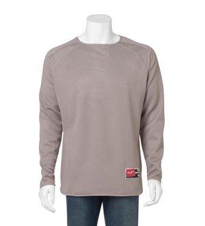 Rawlings Men's Flatback Mesh Long Sleeve Fleece Pullover (Steel Grey) (Large) (Pullover Mesh Fleece)