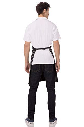 Chef Works mens Bib Apron apparel accessories, Black/White Chalk Stripe, 34.25-Inch Length by 27-Inch Width US 2