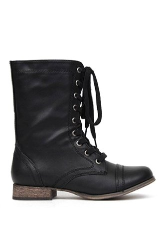 Breckelle Georgia Vegan Leather Lace Up Round Toe Womens Motorcycle Boots