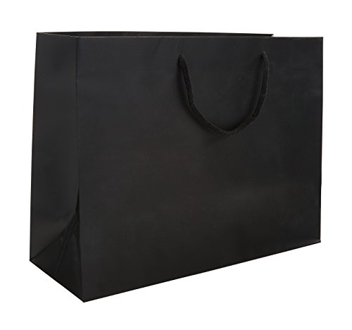 16 x 6 x 12'' Black Matte - 100 pack |Heavy Duty Standard Original Style Paper Tote Bag Set | Perfect for Gifts, Party, Baby Shower, Kid's Birthdays, Weddings, Lunch & More by Prime Time Packaging Ltd