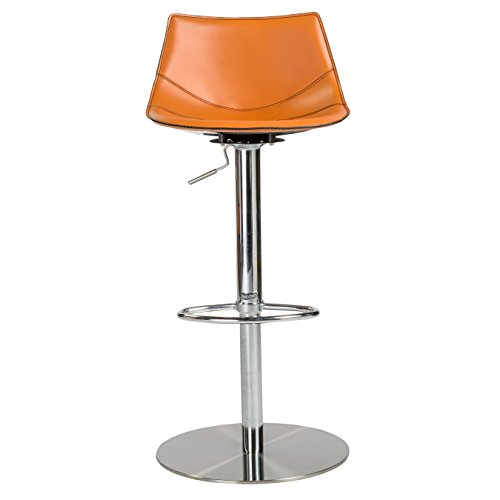 Euro Style Rudy Adjustable Bar-to-Counter Height Stool, Cognac Leatherette with Stainless Steel Column and Base