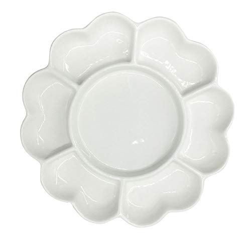"""Easyou 7well 6.5"""" Porcelain Palette Ceramic Mixing Tray Flower Mixing Plate"""